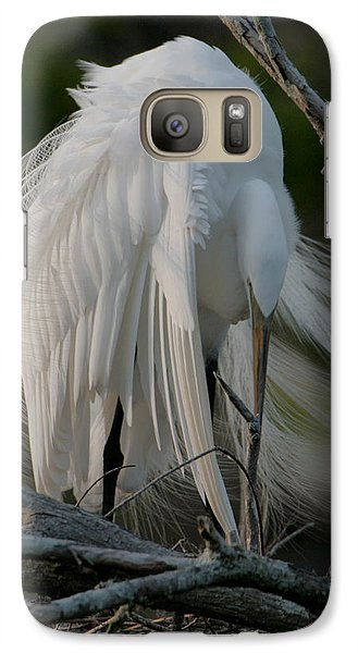 Galaxy Case featuring the photograph Egret - Mother And Eggs  by Luana K Perez