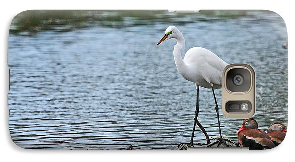 Galaxy Case featuring the photograph Egret Bird - Supporting Friends by Luana K Perez