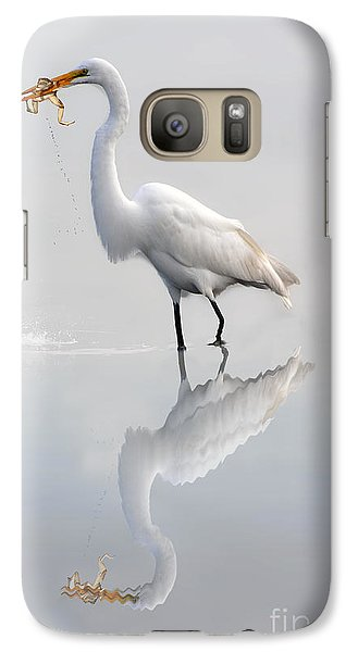 Galaxy Case featuring the photograph Egret Eating Lunch by Dan Friend