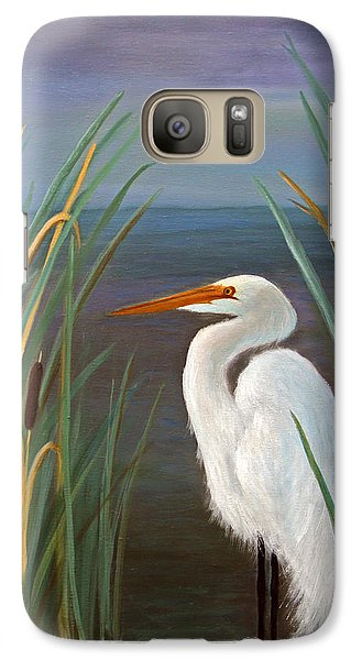 Galaxy Case featuring the painting Egret In Cattails by Janet Greer Sammons
