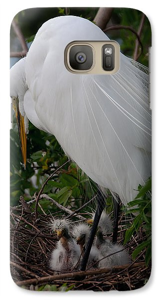 Galaxy Case featuring the photograph Egret With Chicks by Art Whitton