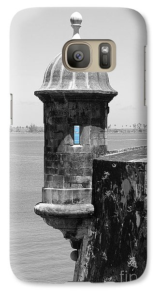 Galaxy Case featuring the photograph El Morro Sentry Tower Color Splash Black And White San Juan Puerto Rico by Shawn O'Brien