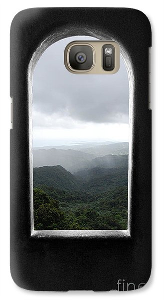 Galaxy Case featuring the photograph El Yunque Cloudburst Color Splash Black And White by Shawn O'Brien
