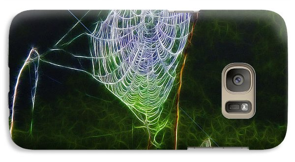 Galaxy Case featuring the photograph Electric Web In The Fog by EricaMaxine  Price