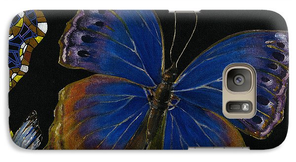 Galaxy Case featuring the painting Elena Yakubovich - Butterfly 2x2 Lower Right Corner by Elena Yakubovich