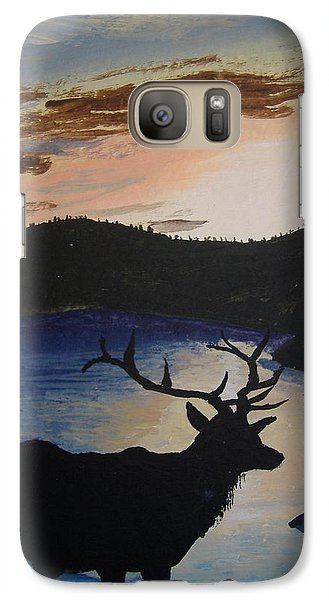 Galaxy Case featuring the painting Elk At Sunset by Norm Starks