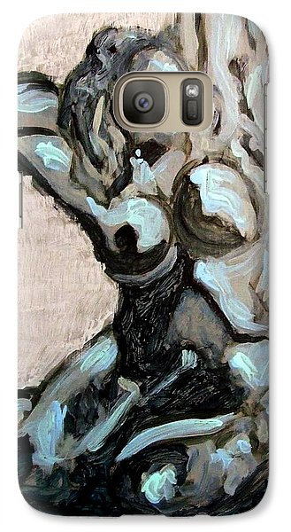 Galaxy Case featuring the painting Emerald Green And Blue Expressionist Nude Female Figure Painting Filled With Emotion And Movement by MendyZ M Zimmerman