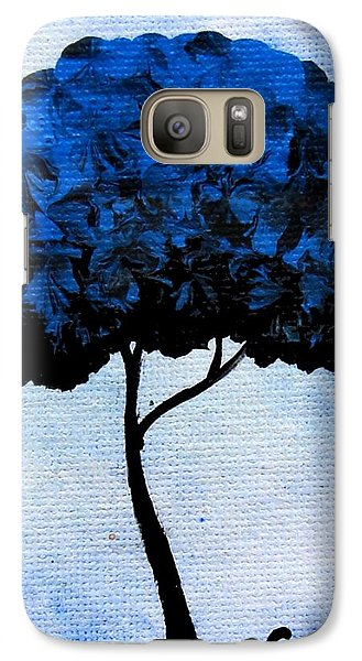 Galaxy Case featuring the painting Emily's Trees Blue by Oddball Art Co by Lizzy Love