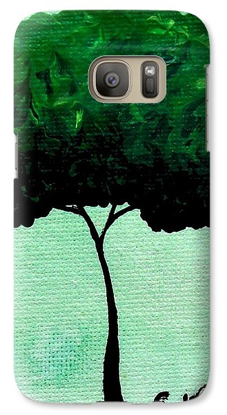 Galaxy Case featuring the painting Emily's Trees Green by Oddball Art Co by Lizzy Love