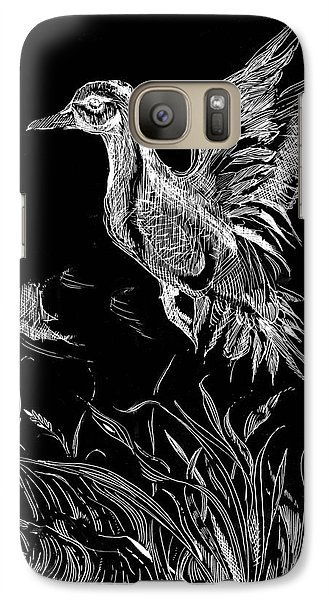 Galaxy Case featuring the drawing Etched Duck by Lizi Beard-Ward