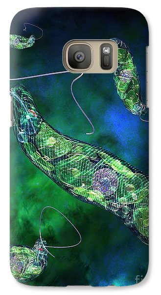 Galaxy Case featuring the digital art Euglena Blue by Russell Kightley