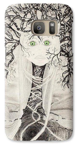 Galaxy Case featuring the drawing Fear by Yolanda Raker