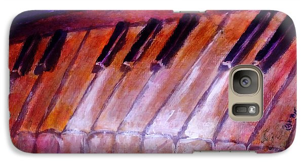 Galaxy Case featuring the painting Feeling The Blues On Piano In Magenta Orange Red In D Major With Black And White Keys Of Music by M Zimmerman MendyZ