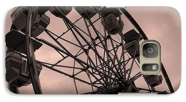 Galaxy Case featuring the photograph Ferris Wheel Pink Sky by Ramona Johnston