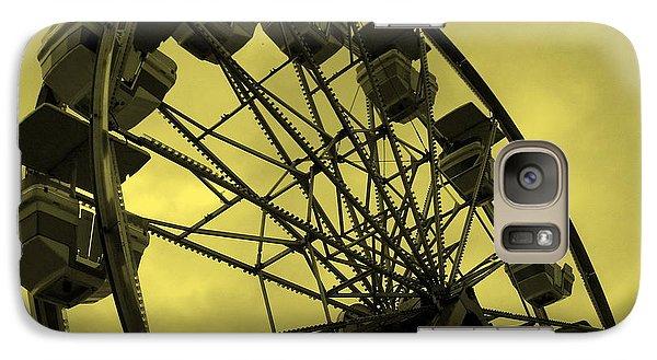 Galaxy Case featuring the photograph Ferris Wheel Yellow Sky by Ramona Johnston