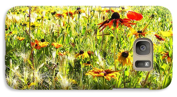 Galaxy Case featuring the digital art Field Of Bright Colorful Wildflowers by Anne Mott