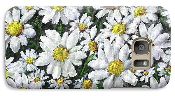 Galaxy Case featuring the mixed media Field Of Daisies by Mary Kay Holladay