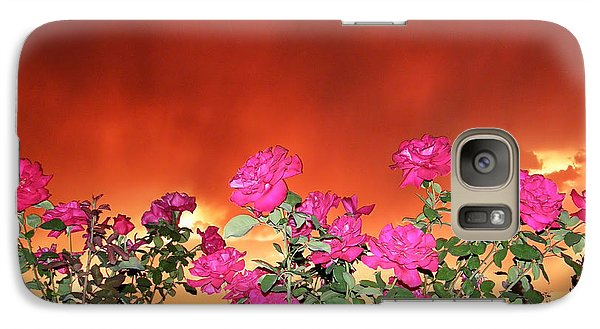 Galaxy Case featuring the photograph Firery Roses by Wendy McKennon