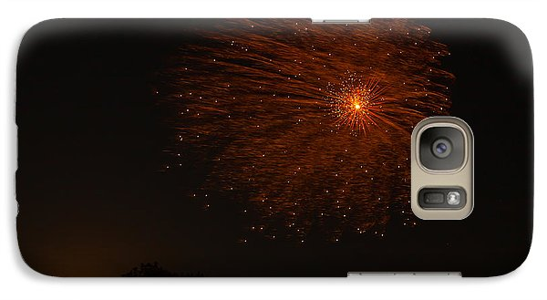 Galaxy Case featuring the photograph Fireworks And Wildfire Moon by Tom Gort
