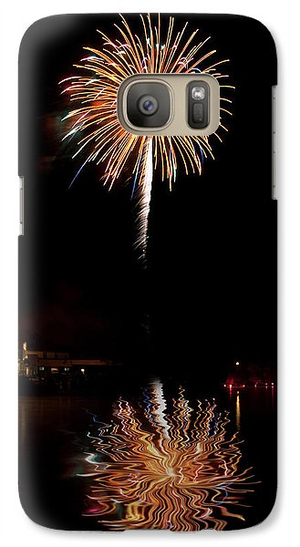 Galaxy Case featuring the photograph Fireworks Over Lake by Cindy Haggerty