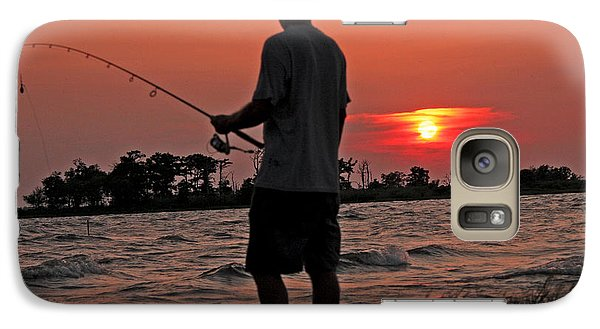 Galaxy Case featuring the photograph Fisherman And Lighthouse Sunset by Luana K Perez