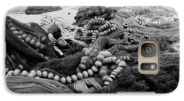 Galaxy Case featuring the photograph Fisherman Sleeping On A Huge Array Of Nets by Tom Wurl