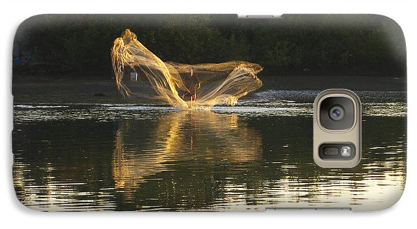 Galaxy Case featuring the digital art Fisherman Throwing His Net by Anne Mott