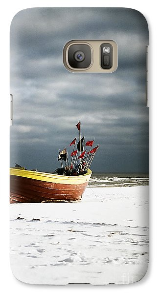 Galaxy Case featuring the photograph Fishermen's Boat On Snowy Beach by Agnieszka Kubica