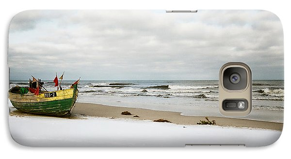 Galaxy Case featuring the photograph Fishermen's Boat Waiting On A Beach by Agnieszka Kubica