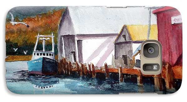 Galaxy Case featuring the painting Fishing Boat And Dock Watercolor by Chriss Pagani