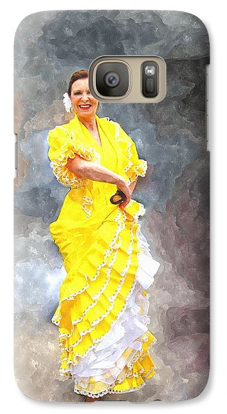 Galaxy Case featuring the photograph Flamenco Dancer In Yellow by Davandra Cribbie
