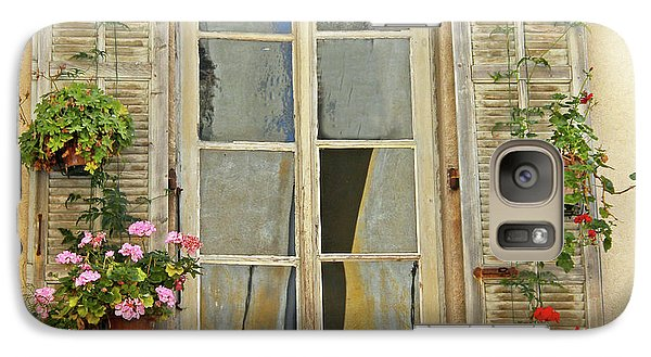 Galaxy Case featuring the photograph Flower Window Provence France by Dave Mills