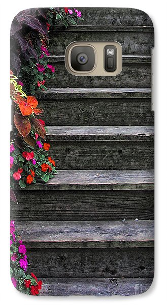 Galaxy Case featuring the photograph Flowers And Steps by Joanne Coyle