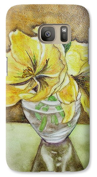 Galaxy Case featuring the painting Flowers In Crystal Bowl by Mary Kay Holladay