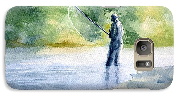 Galaxy Case featuring the painting Flyfishing by Eleonora Perlic