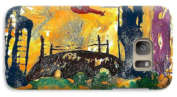 Galaxy Case featuring the painting Flying Helicopters Over Turbulent Waters by Sharon Mick