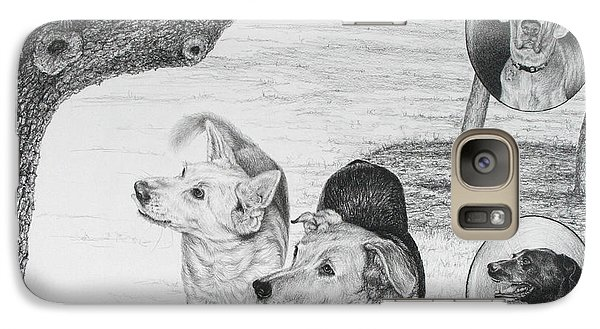 Galaxy Case featuring the drawing Four Dogs And A Squirrel by Mike Ivey