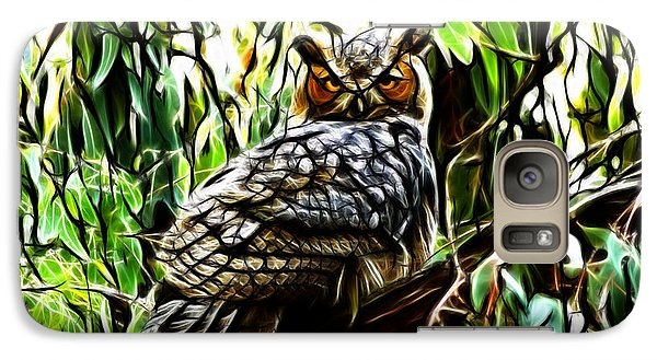 Galaxy Case featuring the digital art Fractal-s -great Horned Owl - 4336 by James Ahn