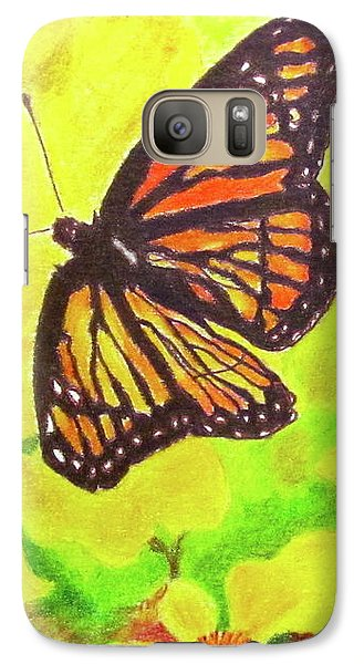 Galaxy Case featuring the drawing Free To Fly by Beth Saffer