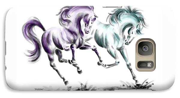 Galaxy Case featuring the drawing Frolicking - Wild Horses Print Color Tinted by Kelli Swan