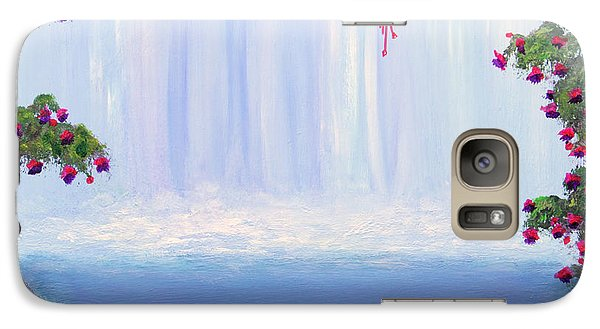 Galaxy Case featuring the painting Fuchsia Falls by Janet Greer Sammons