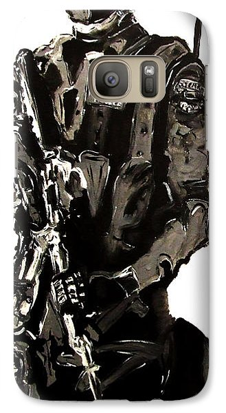 Galaxy Case featuring the painting Full Length Figure Portrait Of Swat Team Leader Alpha Chicago Police In Full Uniform With War Gun by M Zimmerman MendyZ