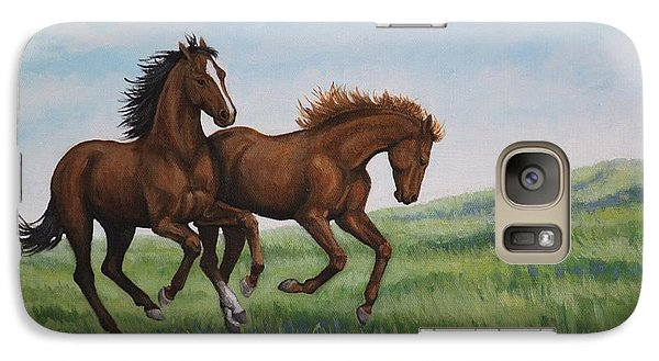 Galaxy Case featuring the painting Galloping Horses by Penny Birch-Williams