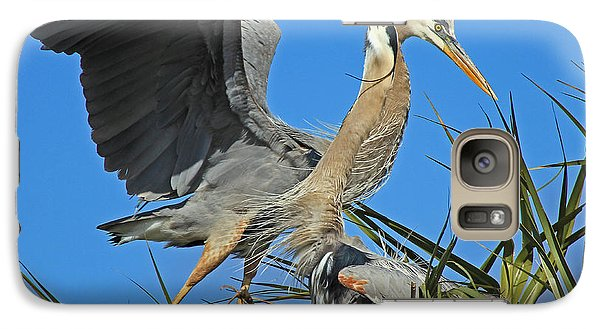 Galaxy Case featuring the photograph Great Blue Heron Courtship Display by Larry Nieland
