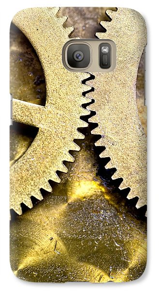 Galaxy Case featuring the photograph Gears From Inside A Wind-up Clock by John Short