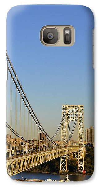 Galaxy Case featuring the photograph George Washington Bridge And Boat by Zawhaus Photography
