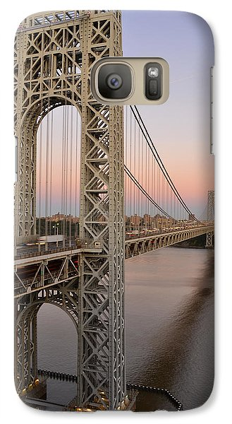 Galaxy Case featuring the photograph George Washington Bridge At Sunset by Zawhaus Photography