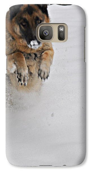Galaxy Case featuring the photograph German Shepherd In The Snow 2 by Tanya  Searcy
