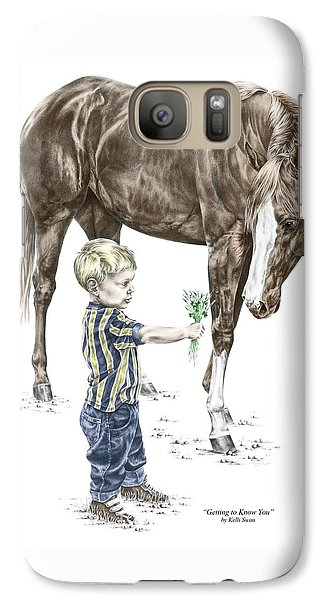 Galaxy Case featuring the drawing Getting To Know You - Boy And Horse Print Color Tinted by Kelli Swan