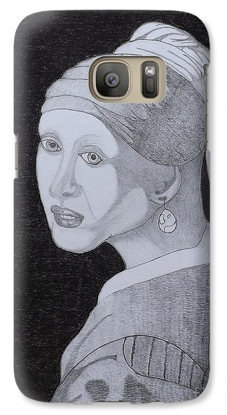 Galaxy Case featuring the drawing Girl With A Pearl Earring by Gerald Strine